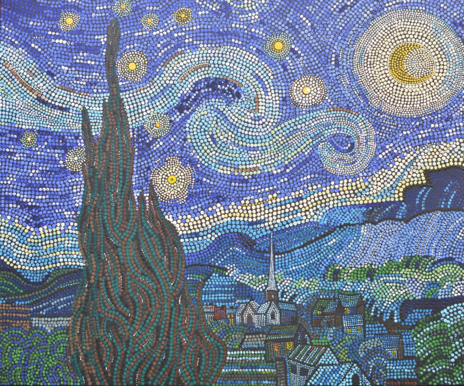 Stary night, Vincent van Gogh 1888, Dot Painting