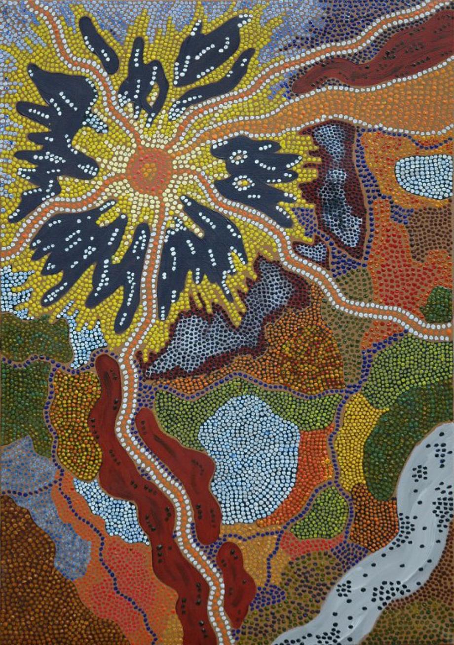 Sepp Schick, Acrylmalerei, Landschaften, Dot Painting